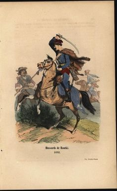 Hussar Cavalry Mid Combat 1847 antique engraved military history color print