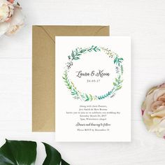 Printable Wedding Invitation // Greenery by WithPaintandPencilCo
