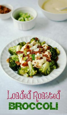 These loaded roasted broccoli bites are covered in creamy cauliflower cheese sauce and bacon for a low carb treat.