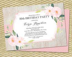 60th Birthday Invitation Pink Floral Mint Adult Birthday Milestone Birthday Anniversary Invite Graduation Party Invitation, ANY EVENT