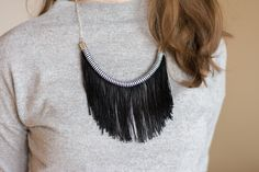 Black And White Necklace, Striped Fringe Necklace, Tassel Jewelry, Statement Necklace, Elegant Minimalistic Accessories Fringe Necklace, Tribal Necklace, Necklace Lengths, Black And White Necklaces, Tassel Jewelry, Cotton Rope, Collections, Etsy, Elegant
