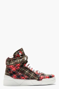GIVENCHY Red Calfskin Plaid Tyson High-Top Sneakers