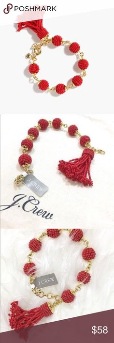 J. Crew Beaded Tassel Bracelet Stunning shiny gold tone bracelet features 7 fiery red beaded orbs with a dangling knotted tassel. Beautiful worn alone or mixed with your favorite gold bangle bracelets. Features a spring ring closure. Bundle with the matching necklace in my closet and receive a personal discount. NWT and ships with dust bag for safe keeping. J. Crew Jewelry Bracelets