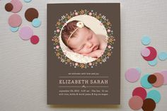 Sweet Floral Garland Birth Announcements by Coco a. Birth Announcement Photos, Birth Announcements, Announcement Cards, Paper Supplies, Floral Garland, Welcome Baby, Custom Stamps, Photo Cards, Your Cards