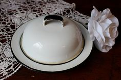 Enamel Ware Butter Dish Covered Plate Mid Century. $15.00, via Etsy.