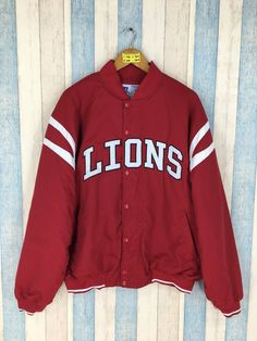 586c1c296447 DETROIT LIONS Varsity Jacket Men XLarge Vintage 90 s Lions NFL American  Football Rugby Bomber Coach Jacket Red Size Xl