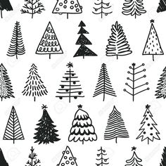 Seamless pattern with hand drawn Christmas tree. Abstract doodle drawing winter … Seamless pattern with hand drawn Christmas tree. Abstract doodle drawing winter …,Bujo // Doodles Seamless pattern with hand drawn Christmas tree. Christmas Doodles, Christmas Drawing, Christmas Art, How To Draw Christmas Tree, Christmas Landscape, Vector Christmas, Xmas Tree, White Christmas, Christmas Holidays
