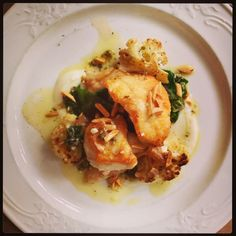 Red grouper @brasserieSTL w/ cauliflower, chard, green garlic/caper vinaigrette, and roasted almond via @Michael Petres