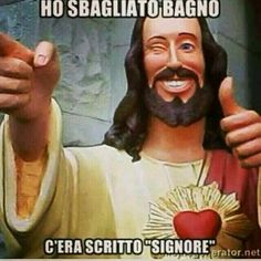 Buon weekend a tutti! Buon fine settimana a tutti! Dumb Jokes, Funny Memes, Religion Humor, Italian Memes, Crazy Night, Jesus Christ Superstar, Dont Forget To Smile, Smile Quotes, Funny Art