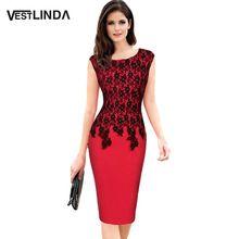 Vestlinda plus size 5xl escritório dress elegante mulheres dress o neck mangas lace emendado patchwork senhoras vestidos bodycon dress(China (Mainland))