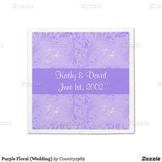 Purple Floral (Wedding) Standard Cocktail Napkin