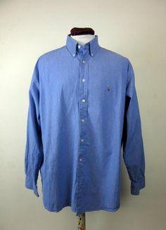 Ralph Lauren Vintage Blue Long Sleeved Oxford Button Down Shirt Size XL 17