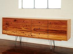 Sideboard with steel hairpin legs and circle finger pull detail.  Solid reclaimed Messmate.  Push catch doors and soft close dovetail drawers. 2400mm x 900mm x 500mm Auld Design