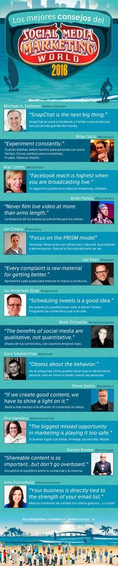 Hola: Una infografía con Los mejores consejos del Social Media Marketing World 2016. Vía Jordi Hernández Un saludo