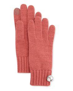 Portolano Cashmere Rhinestone-Button Tech Gloves, Prairie Rose