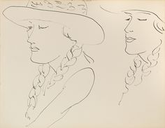 'Deux Portraits de Femme au Chapeau', 1930 Henri Matisse (1869–1954), pen and ink on paper,