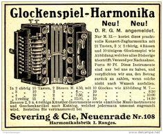 Original-Werbung/ Anzeige 1910 - GLOCKENSPIEL - HARMONIKA / SEVERING - NEUENRADE…