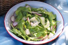 4 Lebanese cucumbers  8 radishes, ends trimmed, thinly sliced  2 bunches rocket  80ml (1/3 cup) extra virgin olive oil  2 tablespoons red wine vinegar  1 teaspoon wholegrain mustard  Pinch of raw sugar