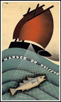 """1995 poster by P Péron; published by Imprimerie Cloître in Brest   ( """"Eat Fish"""" )"""