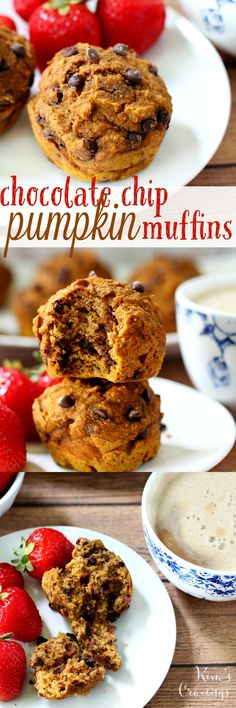 Perfectly sweetened, wonderfully spiced, one-bowl Chocolate Chip Pumpkin Muffins are a cinch to whip up and will fill your autumn morning with deliciousness!  These are a healthier, lighter, more wholesome pumpkin spice muffin with absolutely no oil, butter and very little sugar.