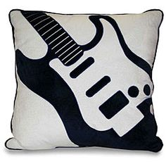 @Overstock.com - Bring style to your bedroom decor with this fun square throw pillow from the Thro Guitar Collection. A white and navy blue guitar applique highlights this lovely decorative pillow.http://www.overstock.com/Home-Garden/Guitar-Applique-Decorative-Pillow/5973726/product.html?CID=214117 $27.49