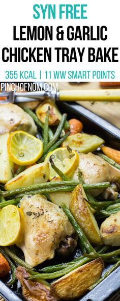 Syn Free Lemon and Garlic Chicken Tray Bake | Pinch Of Nom Slimming World Recipes 355 kcal | Syn Free | 11 Weight Watchers Smart Points