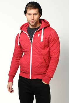 Red Quilted Zip Hoody at boohoo.com