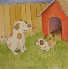 Dogs with their dog house watercolor pen and ink by theinkproject, $29.00