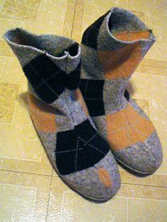 DIY Argyle Boots by leethal who made them from a felted thrift store sweater and an old pair of pumas. Click on the photo to go to the link and scroll down to the DIY. #Argyle_Boots #DIY leethal