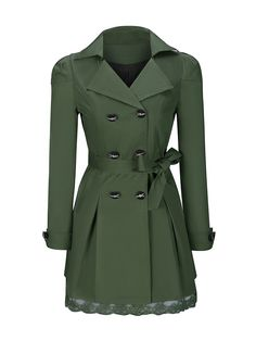 Lapel Bowknot Double Breasted Plain Trench Coat FashionMia Price: $36.95