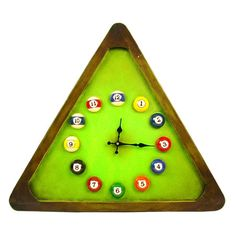 Pool Triangle Wall Clock- great for game room
