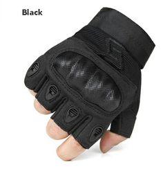 Outdoor plain armor tactical gloves Genuine leather half-fiber carbon foundry gloves