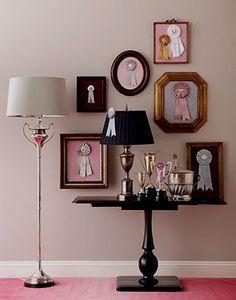 For a little girls room... love the framed ribbons!