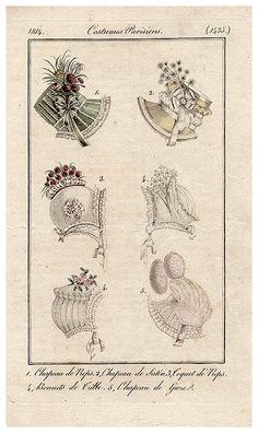 Bonnets, 1814 costume parisien