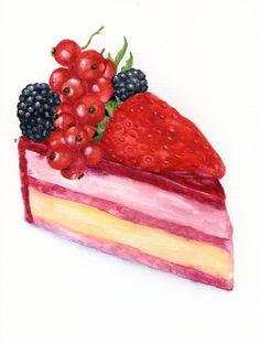 Cake with Fresh Berries ORIGINAL Painting por ForestSpiritArt, £25.00