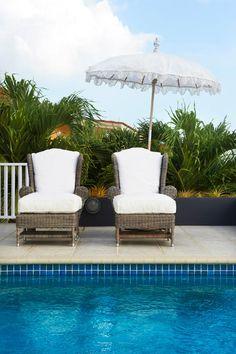 Coastal Lounge Chairs w/ White Cushions .