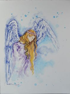 Angel painting Watercolor Angel Ethereal Art by MariasIdeasArt, $20.00