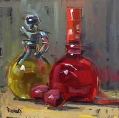 Olive Oil and Red Wine Vinegar, painting by artist Cathleen Rehfeld