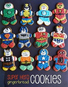 super hero gingerbread men and women cookies- OMG! Husband would LOVE! Might do in sugar cookies for his bday! Superhero Cookies, Superhero Party, Superhero Texts, Gingerbread Man Cookies, Christmas Cookies, Gingerbread Men Icing, Christmas Foods, Christmas Baking, Edible Crafts