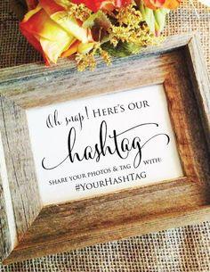 Personalized Wedding Hashtag Sign Oh Snap (Stylish)