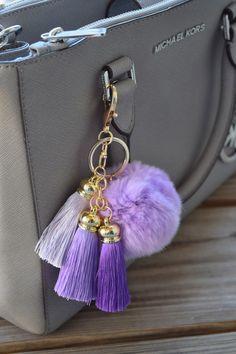 Keychain, Fur Pom Pom, Fur Ball Keychain, Fur Keychain, Fur Keychain, Gold Keychain, Fur Bag Charm, light purple fur ball by ZEnella on Etsy https://www.etsy.com/listing/275635282/keychain-fur-pom-pom-fur-ball-keychain