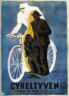 """Hervé Morvan: poster danese del film """"Ladri di biciclette"""" di Vittorio De Sica (Italia/1948)"""