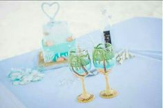 Painted wedding wine glass,  beach themed