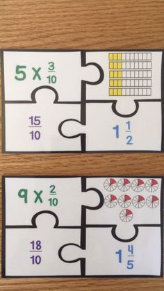 Multiplying Fractions by Whole Numbers Game Puzzles Grade Math Center can find. Multiplication Des Fractions, 4th Grade Fractions, 4th Grade Math Worksheets, Learning Fractions, Adding Fractions, Dividing Fractions, Equivalent Fractions, Fraction Games For Kids, Fraction Activities