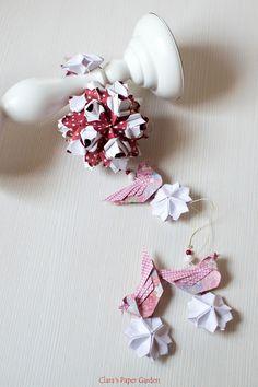 caramel kusudama, birds and sakura flowers