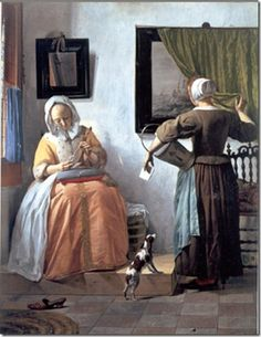 Johannes Vermeer, 'Lady with her maid servant holding a letter' (1666)