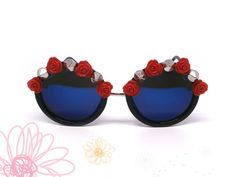 Gafas de sol con flores fashion. Gafas por GloriaSanchezArtist