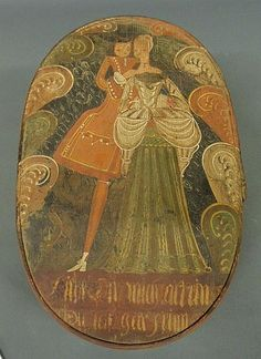 German bride's box, early 19th c., with original p