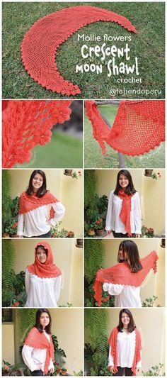 #Crochet: Mollie flowers crescent moon shawl.  English subtitles video tutorial :)