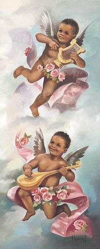 Two beautiful cherubs playing a harp and a mandolin (right panel)